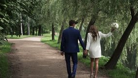 Young lovely couple holding hands and walking stock video footage