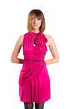 Young Lovely Lady In A Pink Dress Stock Photography