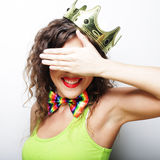 Young lovely woman with crown Royalty Free Stock Photo