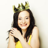 Young lovely woman with crown Stock Photography