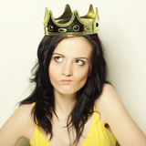Young lovely woman with crown Stock Images