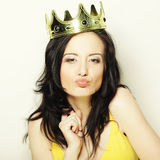 Young lovely woman with crown Stock Photos