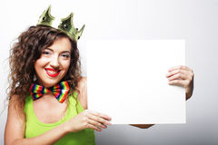 Young lovely woman with crown Stock Photo