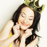 Young lovely woman with crown Royalty Free Stock Photos