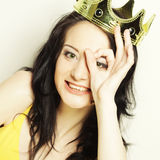 Young lovely woman with crown Royalty Free Stock Photography