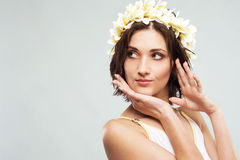 Young lovely woman in flower crown Stock Photo