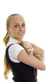 Young lovely woman with little ferret. Stock Images