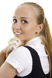 Young lovely woman with little ferret. Royalty Free Stock Photo