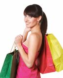 Young lovely woman with shopping bags Royalty Free Stock Photography