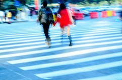 Young lover on zebra crossing Stock Images