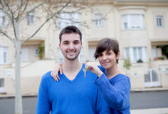 Young lovers excited about your new home Royalty Free Stock Photography