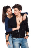 Young lovers in foreplay Royalty Free Stock Image