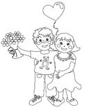 Young lovers (image in black and white to color, f. This vector image depicts two children who hug. The space of the picture are white, so that they can be Royalty Free Stock Photography