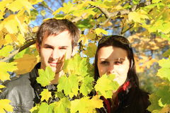 Young lovers among leaves Stock Photos