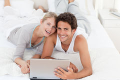 Young lovers looking at the camera royalty free stock images
