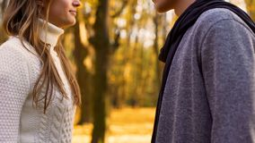 Young lovers looking at each other tenderly, romantic date in autumn forest stock photos