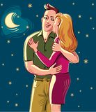 Young lovers, madly in love, vector illustration