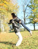 Young lovers. Young men holding a girl jumping like in movie Dirty dancing Stock Images