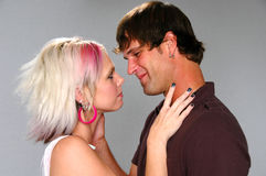 Young lovers about to kiss Royalty Free Stock Photos