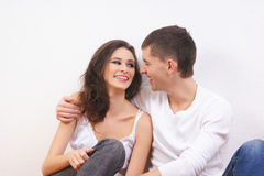A young and loving brunette Caucasian couple Royalty Free Stock Photography