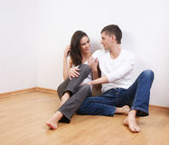 A young and loving Caucasian couple in jeans Royalty Free Stock Image