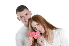 Young loving couple. Over white Royalty Free Stock Photos