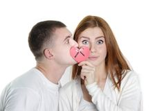 Young loving couple. Over white Stock Photos