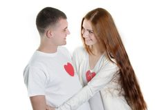 Young loving couple. Over white Stock Photography