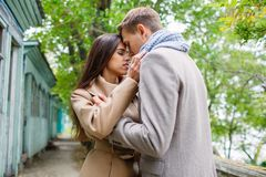 Young loving couple in anticipation of a kiss. Royalty Free Stock Photo