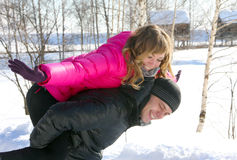 Young loving couple on winter nature, love story Stock Photos