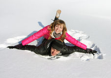 Young loving couple on a snow Royalty Free Stock Image