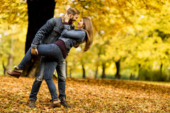 Young loving couple in the autumn park Stock Photography