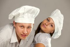 Young loving couple cooks. Stock Photography
