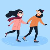 Young loving couple do figure skating. Young lovely attractive couple is figure skating on ice. Winter leisure of weekend. Man and women making fun together. Boy Stock Image