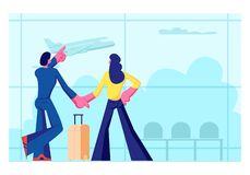 Young Loving Couple Going for Leisure. Man and Woman Stand in Airport Terminal Waiting Flight Watching Flying Airplane. Through Window. Summer Time Vacation vector illustration