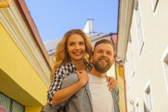 Young loving couple have dating outdoor. Man and woman walking in a city streets. Love, relations and date concept. Young loving couple have dating outdoor. Man royalty free stock photo