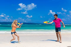 Young loving couple having fun on a tropical beach Stock Photo
