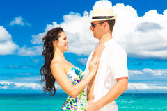 Young loving couple having fun in the tropical beach Stock Photo