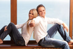 Young loving couple holding hands Royalty Free Stock Photo