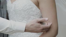 Young loving couple holding hands, hugging and kissing.  stock footage
