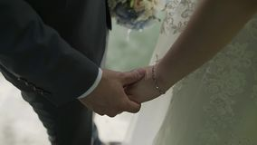 Young loving couple holding hands, hugging and kissing.  stock video