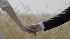 Young loving couple holding hands, hugging and kissing.  stock video footage