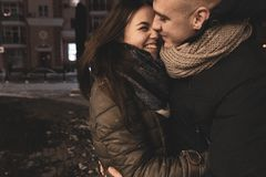 Adolescents in Love Outside the Room. Life Style. Winter Concept. Young Loving Couple Hugging Winter Outdoors. Teen stock image