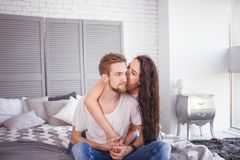 Free Young Loving Couple In The Bed Royalty Free Stock Photography - 116784707