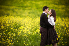 Couple on field. Royalty Free Stock Image