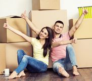 Young loving couple moving to a new house. Home and family concept. Stock Photography