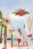 Young Loving Couple On Wedding Day In Beautiful Wedding Setup Wi Royalty Free Stock Images