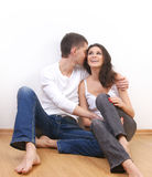 Young loving couple over white background Royalty Free Stock Images