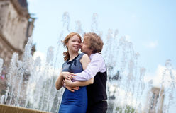 Young loving couple in Paris kissing Stock Photos