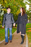 Young loving couple in park Royalty Free Stock Photos